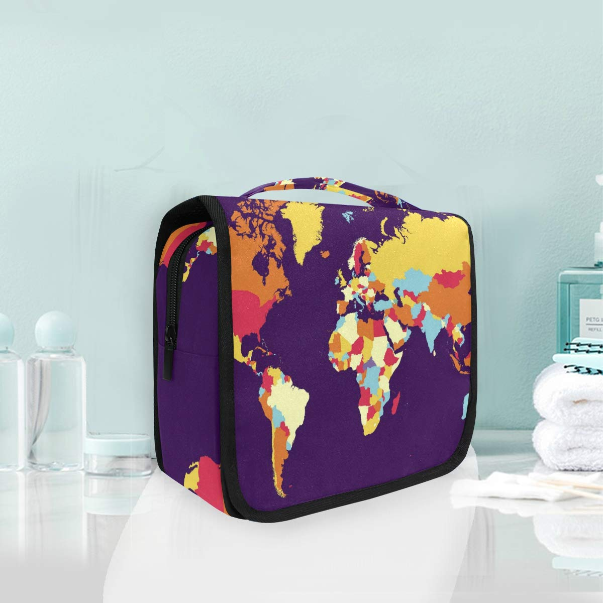Hanging Toiletry Bag World Map Portable Cosmetic Makeup Travel Organizer for Men & Women with Sturdy Hook