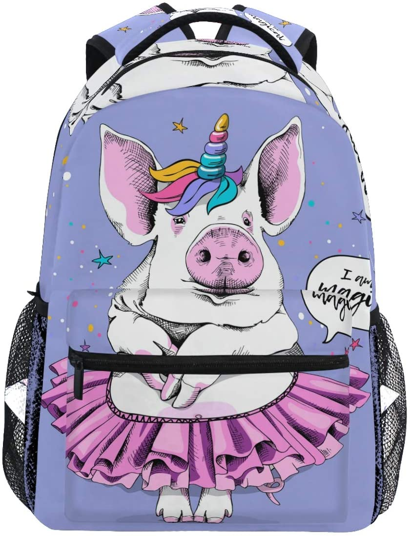 Cute Pig Ballerina Tutu Unicorn Cartoon Star Purple Animal Backpack Bookbags Daypack Travel School College Bag for Womens Mens Teens