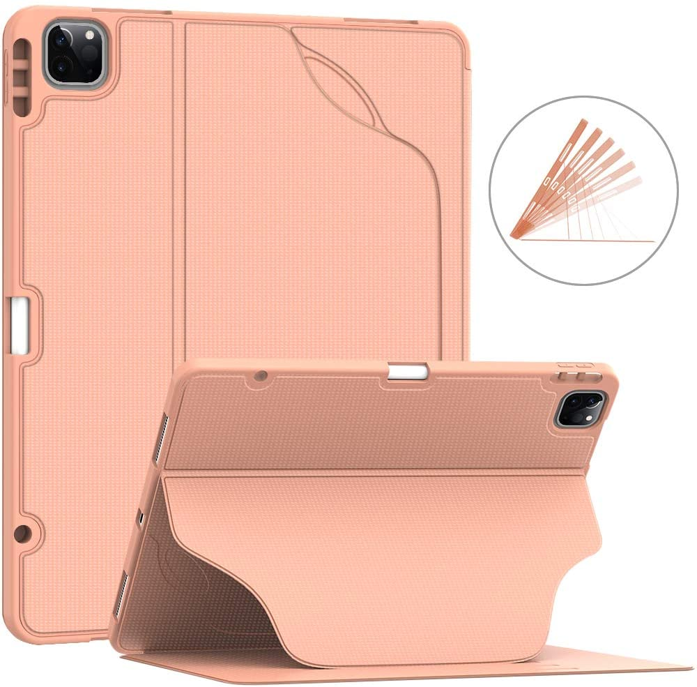 Soke Luxury Series Case for iPad Pro 12.9 Inch 2020 & 2018 - [Built-in Pencil Holder + 6 Magnetic Stand Angles + 360 Full Protection + Premium PU Leather] - Sleep/Wake Cover,Rose Gold