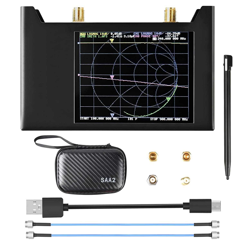 NanoVNA S-A-A-2 V2 Vector Network Analyzer 10KHz -3GHz HF VHF UHF Antenna Analyzer Measuring S Parameters, Voltage Standing Wave Ratio, Phase, Delay, Smith Chart with Metal Shell Case Nano VNA