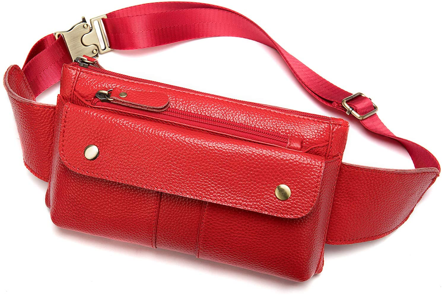 Fashionable Genuine Leather Fanny Pack Slim Waist Bag with Adjustable Belt Strap Red