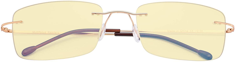 CessBlu Blue Light Blocking Glasses for Men Reading Computer Anti Glare UV Eyeglasses Flexible Rimless Yellow Filter