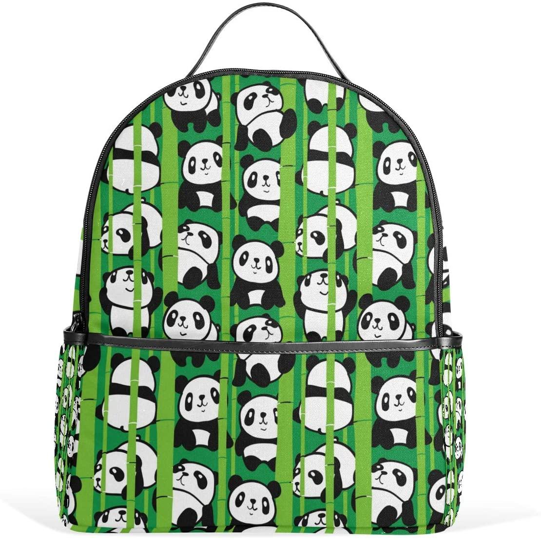 Use4 Cartoon Panda Bamboo Polyester Backpack School Travel Bag