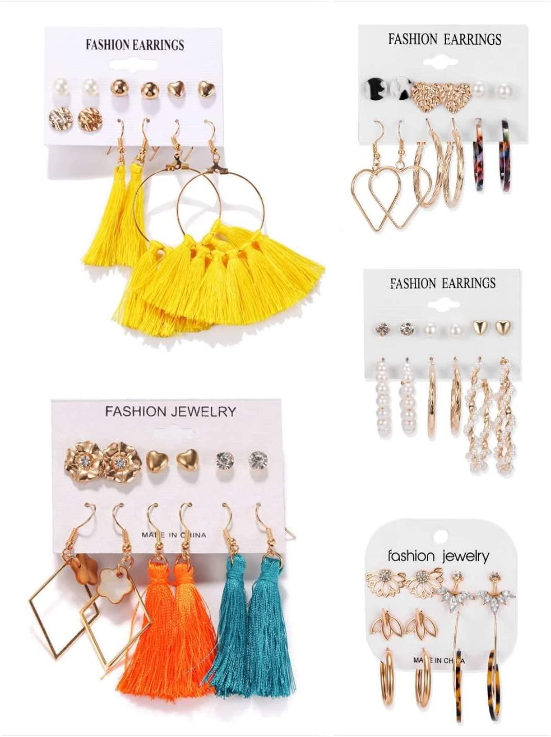 30 Pairs of Fashionable Geometric Acetate Plate Earrings, Pearl Stud Earrings, Creative Alloy Retro Ethnic Tassel Earrings, Fashion Earrings for Men and Women