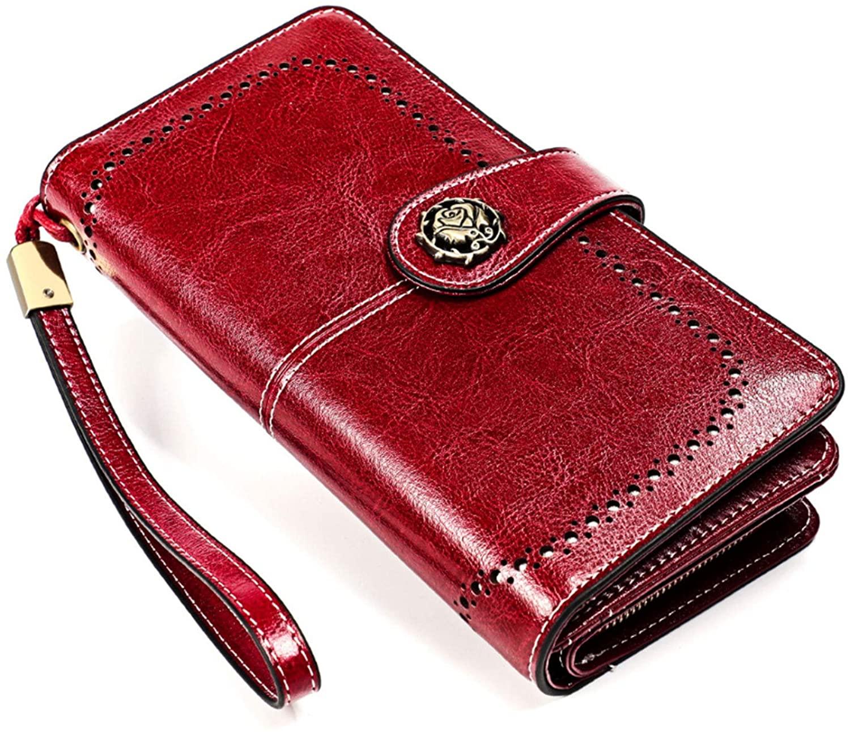 Womens RFID Blocking Leather Wallet Large Phone Holder Clutch Travel Purse Wristlet