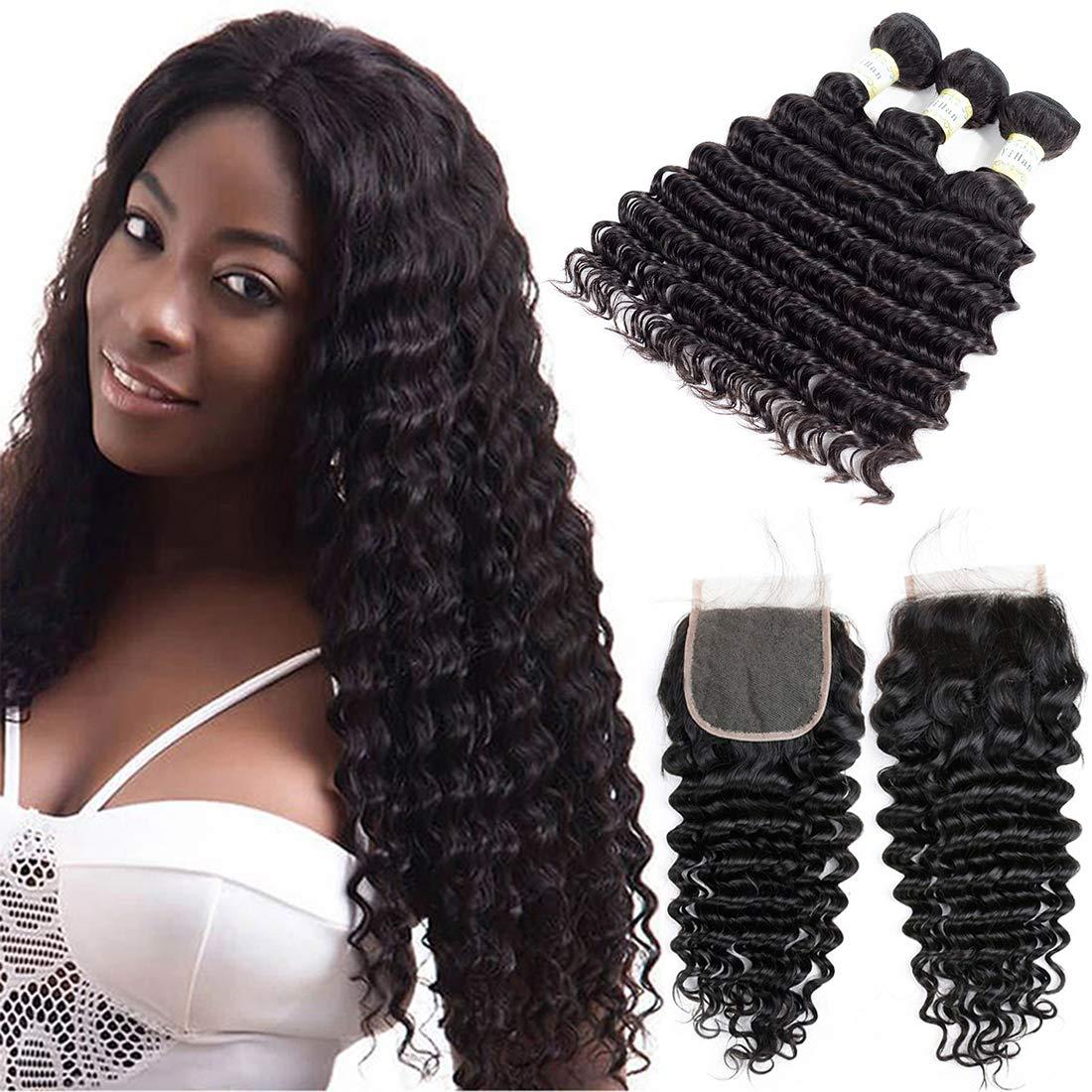 YiHan Brazilian Deep Wave Virgin Hair 3 Bundles With Closure Wet And Wavy Human Hair Weave Bundles With 4x4 Free Part Lace Closure With Baby Hair Bleach Knots Natural Black Color 22 24 26+20 Inches