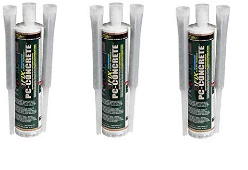 PC Products 72561 PC-Concrete Two-Part Epoxy Adhesive Paste for Anchoring and Crack Repair, 8.6 oz Cartridge, Gray (Thrее Расk)