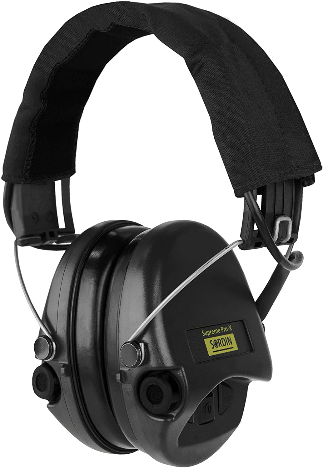 Sordin Supreme PRO X - Noise Reduction Hearing Protection Active Safety Ear Muffs - Black Canvas Headband and Cups