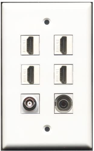 RiteAV - 4 Port HDMI 1 3.5mm 1 BNC Wall Plate