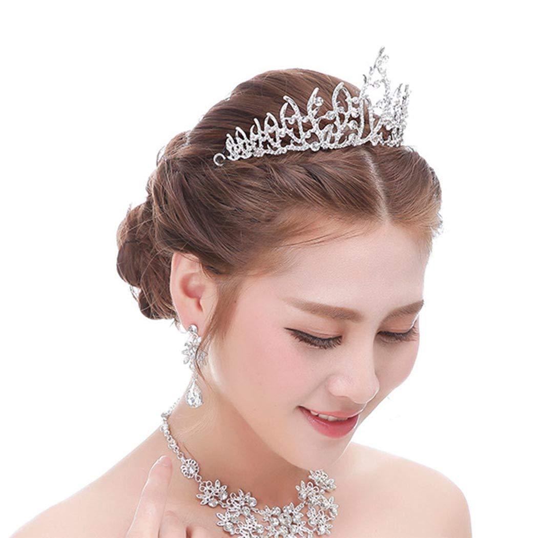 Dreamyn Rhinestone Princess Crowns Pageant Wedding Tiara Queen Crown Bride Hair Accessory for Women and Girls