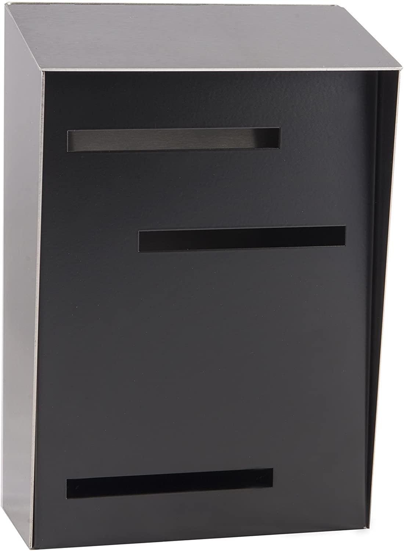 Locking Modern Mailbox | Locking Wall Mount Modern Mailbox Large (Stainless Steel/Black)