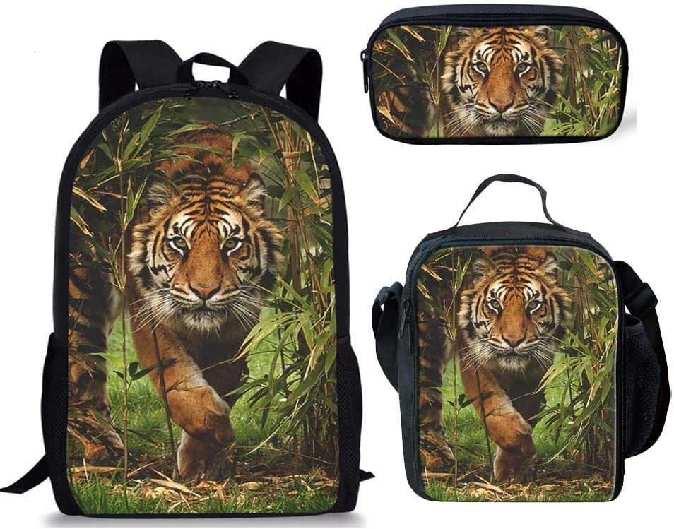 Jungle Tiger Backpack with Lunch Bag Pencil Case kids Teen Boys Girls Set 3 School Bookbags