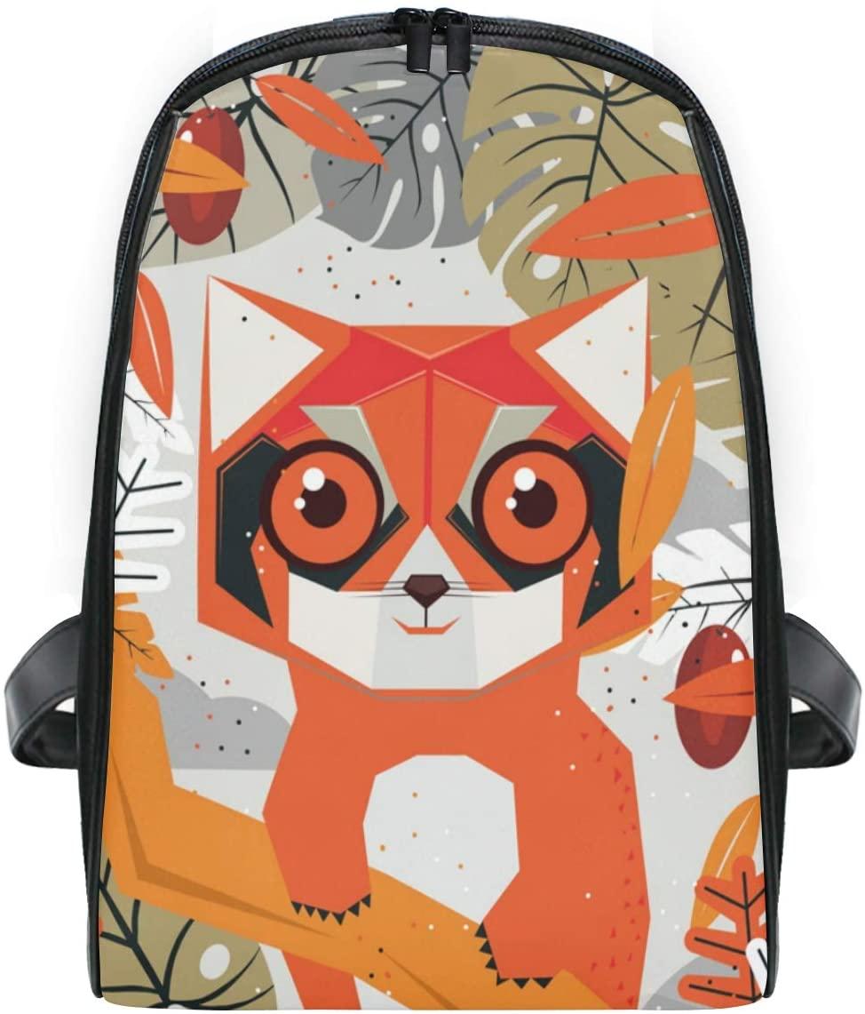 Student Shoulder Backpack Tree Orange Fox Bookbag Bags for Girls Travel Boys