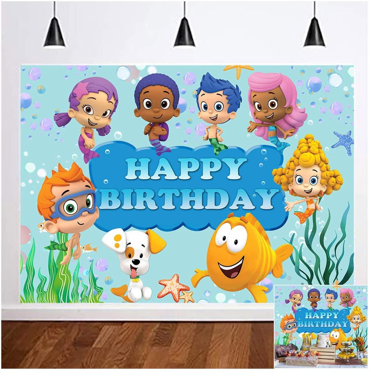 Cartoon Bubble Guppies Happy Birthday Theme Photo Background 5x3ft Vinyl Ocean Under Kids Boys Princess Girl Birthday Party Photography Backdrops Newborn Baby Shower Dessert Cake Table Decor Supplies