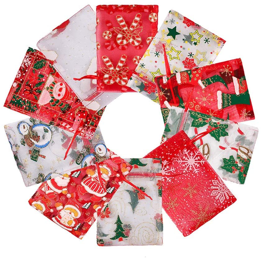 Christmas Hard Yarn Gift Bag, 10PCS Creative Gift Candy Bag with Different Patterns