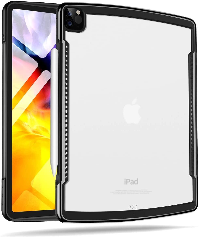 XUNDD iPad Pro 11 Case 2020/2018, Anti-Scratch Slim Translucent, Shock Absorption Soft TPU Edge Bumper, Heat Dissipation Hole Design [Support Apple Pencil Pairing/Charging] - Black
