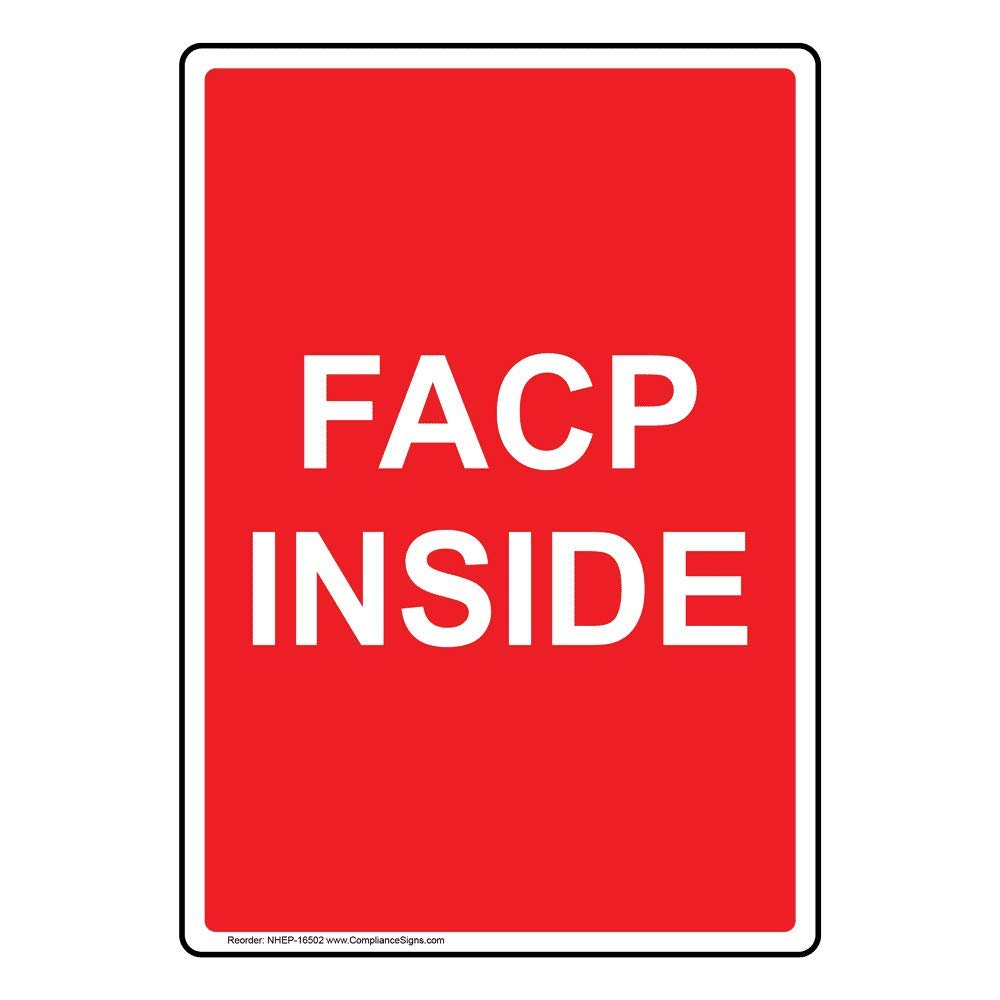 Vertical FACP Inside Sign, 14x10 in. Glow-in-Dark Aluminum for Fire Safety/Equipment by ComplianceSigns