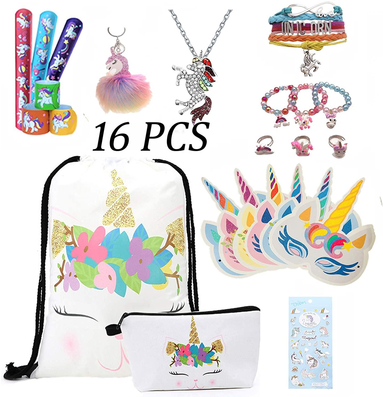 Unicorn Gifts for Girls - Unicorn Drawstring Backpack/Makeup Bag/Bracelet/Slap Bracelet/Necklace/Keychain/Sticker/Mask