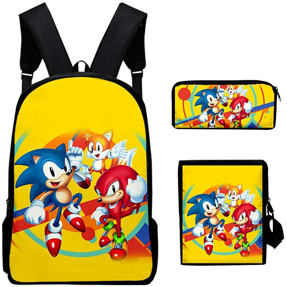 Sonic 3D PrintedBackpack Shoulder Bag with Insulated Lunch Pencil Case Outdoor School Backpack Set 3-One Size for Boys Girls