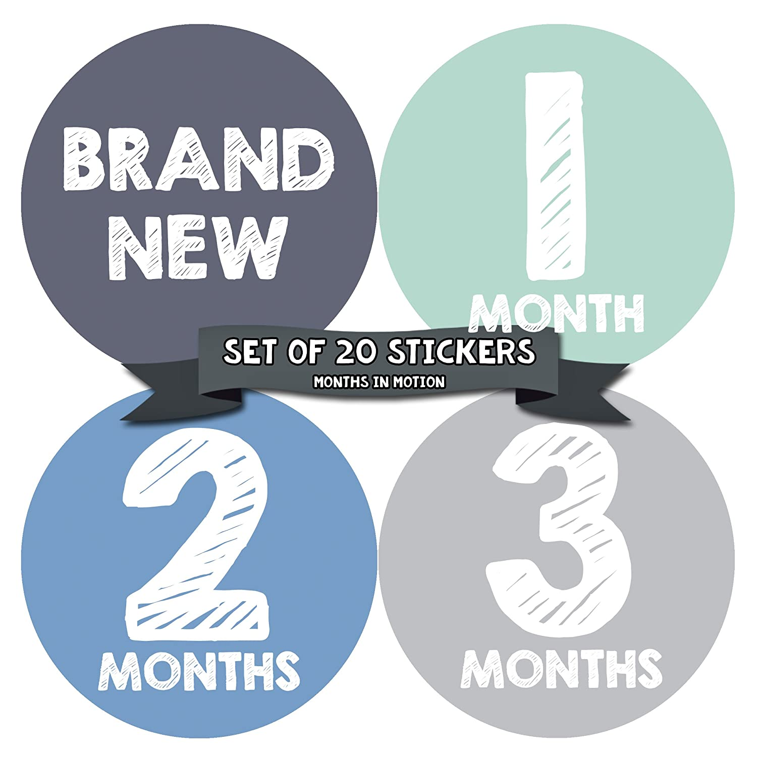 Months in Motion Baby Monthly Stickers - Baby Milestone Stickers - Newborn Boy Stickers - Month Stickers for Baby Boy - Baby Boy Stickers - Newborn Monthly Milestone Stickers - Set of 20