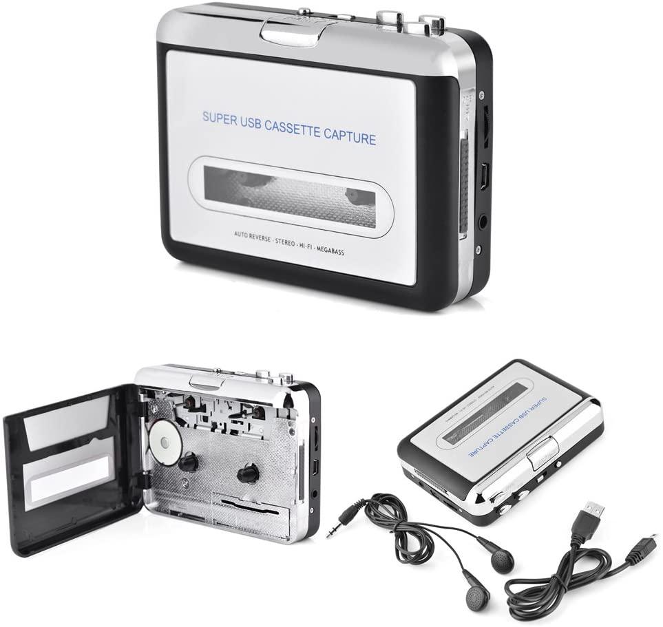 Socobeta USB Cassette Converter Cassette Tape to PC MP3 CD Converter Audio Capture Music Player with Headphones