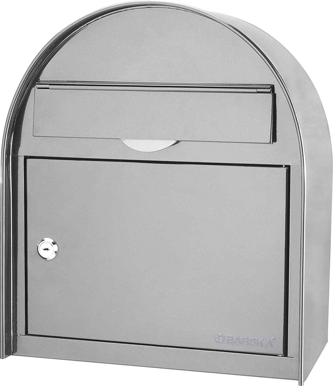 winbest Steel Drop Slot Wall Mount Mail Box, Grey (Large)
