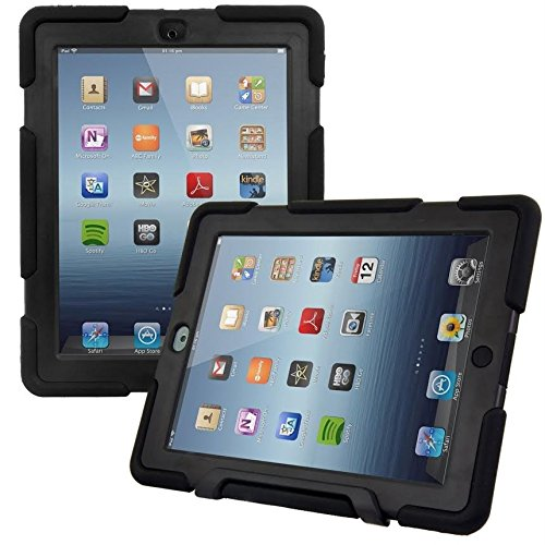 MMOBIEL OutdoorHybrid Strong Shock Protective Case Stand Anti Slip Cover Rubber Compatible with iPad 2/3/4 9.7 Inch