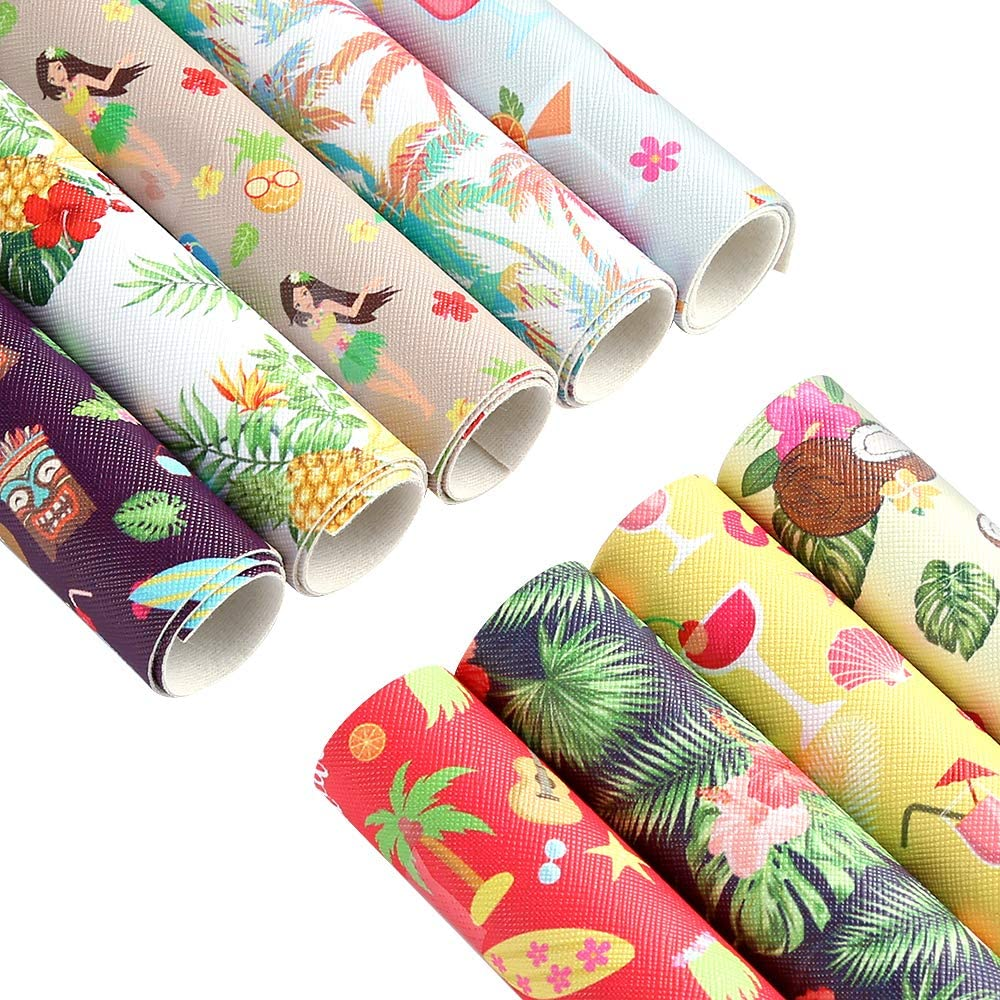 Caydo 9 Pieces Hawaii Faux Leather Sheets Summer Beach Themed PrintedLeather for DIY Leather Earrings and Hair Bows (11.8 x 8.3 inch)