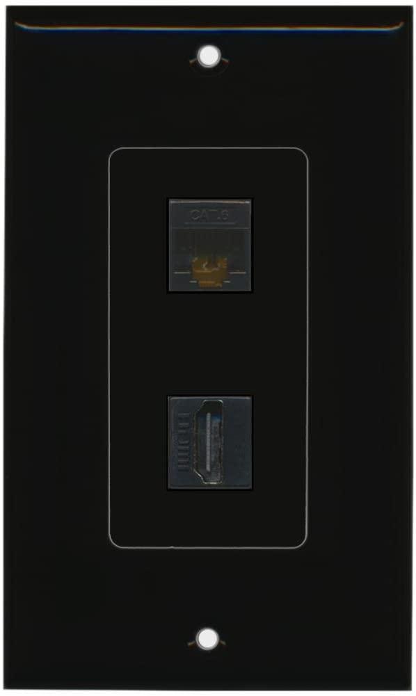 RiteAV - 1 x Cat6 Ethernet Female and 1 x HDMI Port Wall Plate Decorative - Black - Bracket Included