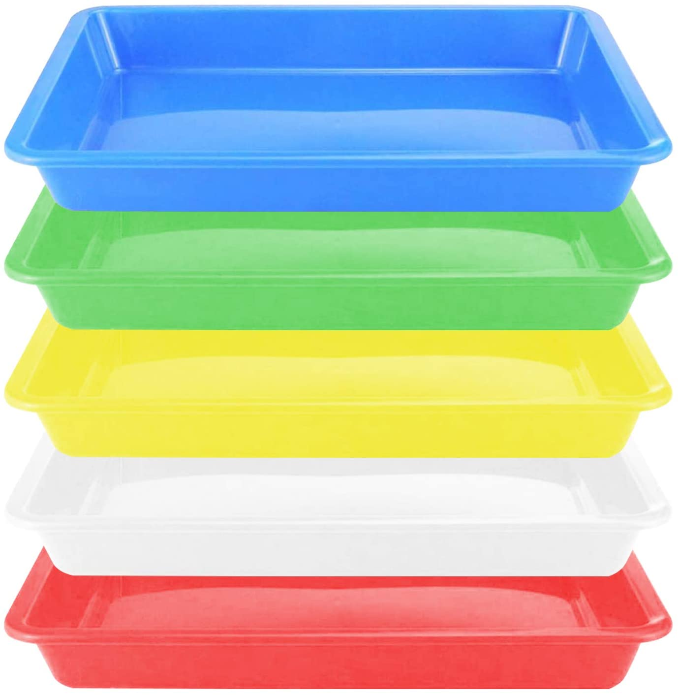 Plastic Art Trays,5 Pieces Stackable Activity Tray Crafts Organizer Tray Serving Tray Jewelry Tray for DIY Projects, Painting, Beads, Organizing Supply,5 Color (11 x 8.3 x 1.2 inch)