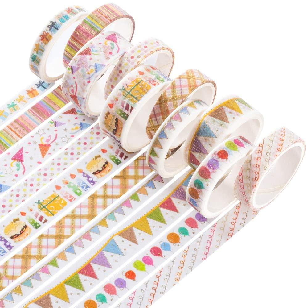 YUBBAEX Color Mix Washi Tapes 10 Rolls Gold Foil Decorative Masking Washi Tape Set for Bullet Journal,Scrapbook, Planner, DIY Crafts (Party)