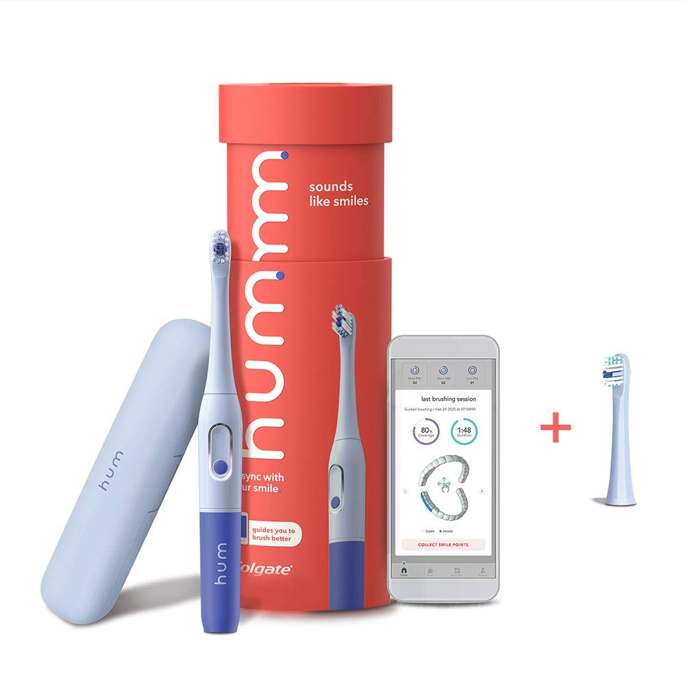 hum by Colgate Smart Battery Toothbrush Kit, Sonic Toothbrush with Travel Case and Replacement Head, Blue