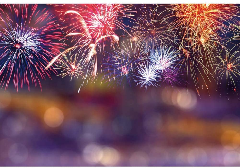 YongFoto 10x8ft Colorful Fireworks Halos Bokeh Backdrop Happy New Year Photography Background Christmas Festival Celebration Holiday Decor Kids Adult Portrait Photo Booth Studio Props Wallpaper