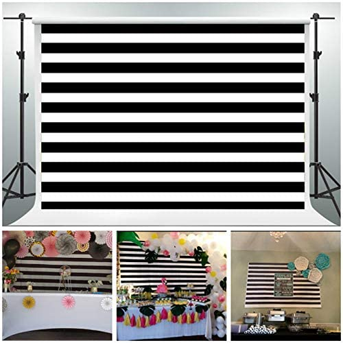 GESEN Background 5x3ft Black and White Stripes Photo Backdrop Birthday Party Baby Shower Decorations You Tube Background Photo Props (with Pocket) LSGE211
