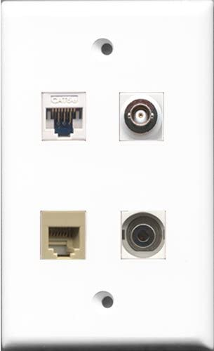 RiteAV - 1 Port Phone RJ11 RJ12 Beige and 1 Port 3.5mm and 1 Port BNC and 1 Port Cat5e Ethernet White Wall Plate