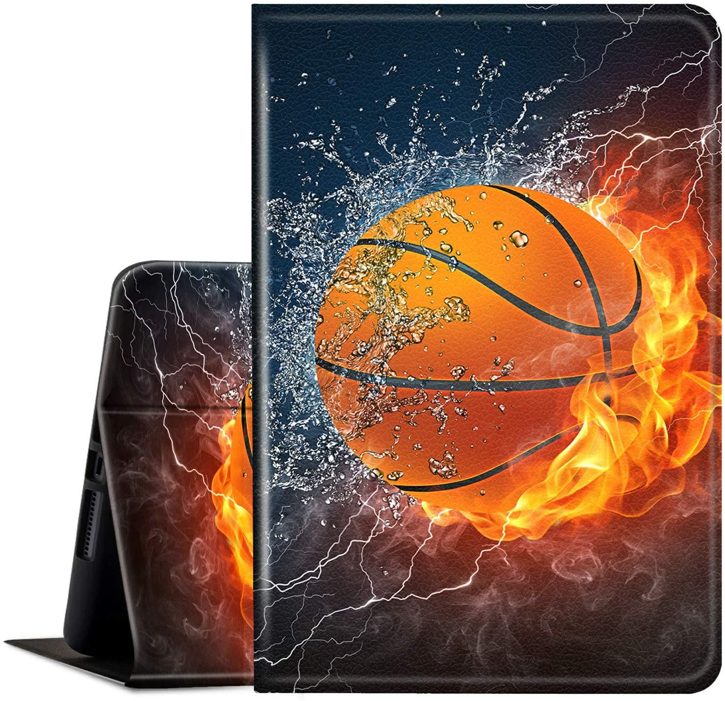 Fire HD 8 Case 2020,Fire HD 8 Plus Tablet Case (10th Generation, 2020 Version), Multi-Angle Anti Slide Stand Smart Cover Cases for New DHgate Kindle Fire HD 8 2020-Basketball on Fire Water