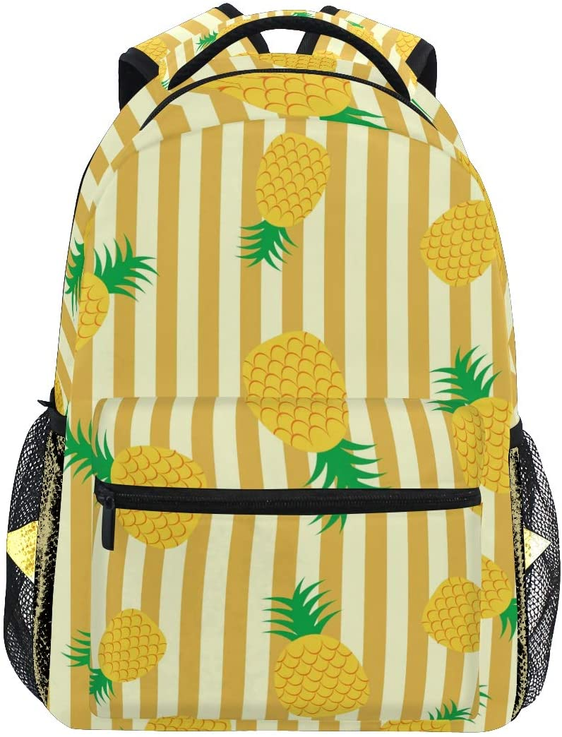 ALAZA Lightweight Backpack for School,Pineapple Stripe School Bookbags Laptop Backpack Casual Travel for Youth Boys and Girls Back to School