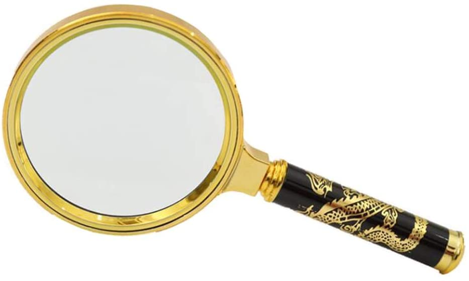 2 Pcs 7X Handheld Magnifier Dragon Pattern Reading Magnifier Loupe Magnifying Glasses for Book Newspaper Reading