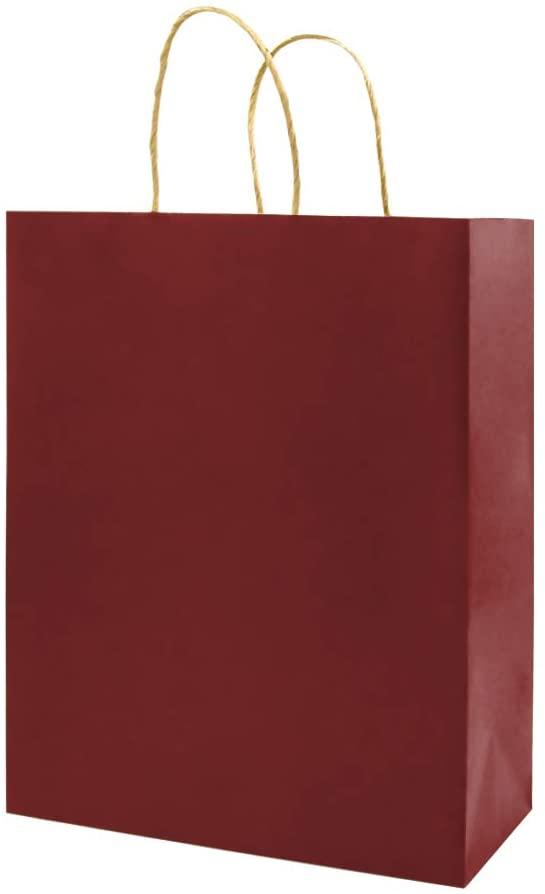 Red Gift Paper Bags with Handles Bulk, Bagmad Small Size Bags 5.25x3.25x8 inch 50 Pcs Pack, Party Grocery Retail Shopping Bags, Wedding, Craft Bags, Cub Sacks (Red 50Pcs)