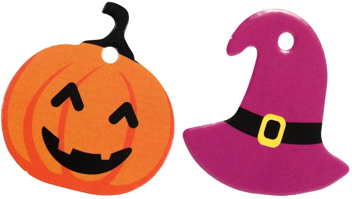 YARNOW 100pcs Halloween Paper Tags Pumpkin Witch Hat Gift Tags Cookie Tags Present Package Wrap Label for Halloween Party Favor Supplies