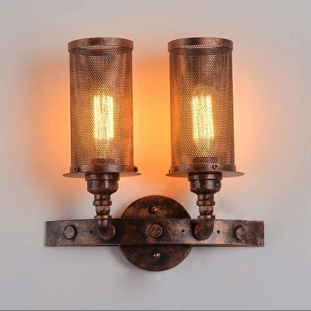 KWOKING Lighting Industrial Wall Sconce 2 Lights Hanging Lamp with Cylindrical Metal Shade Indoor Barn Lighting for Restaurant Warehouse