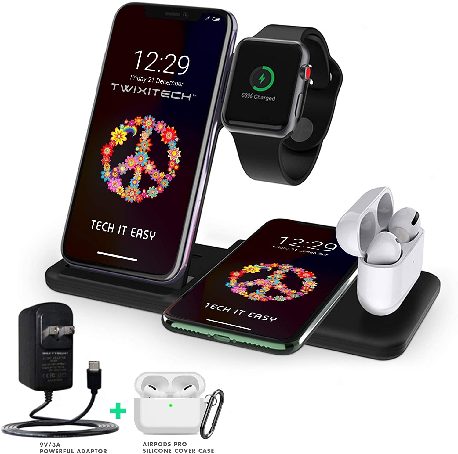 TWIXITECH Wireless Charger 4 in 1 Charging Station for Apple products, iPhone, Apple Watch, Airpods -Android + iPhone Charging Pad-15W Qi Fast Charging -BONUS- 9V/3A Powerful Adaptor+Airpods Pro Cover