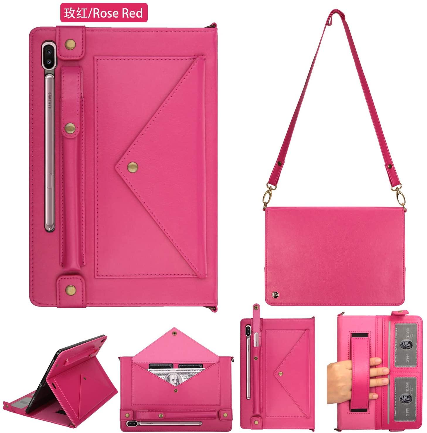 Galaxy SM-870 Case,Case for Samsung SM-875,Handbag S7 Case for Samsung SM-T875 11Inch Pocket Handbag Smart Case for Lady 4 Card Holder Slot Adjustable Shoulder Strap Kickstand TAB S7 Case