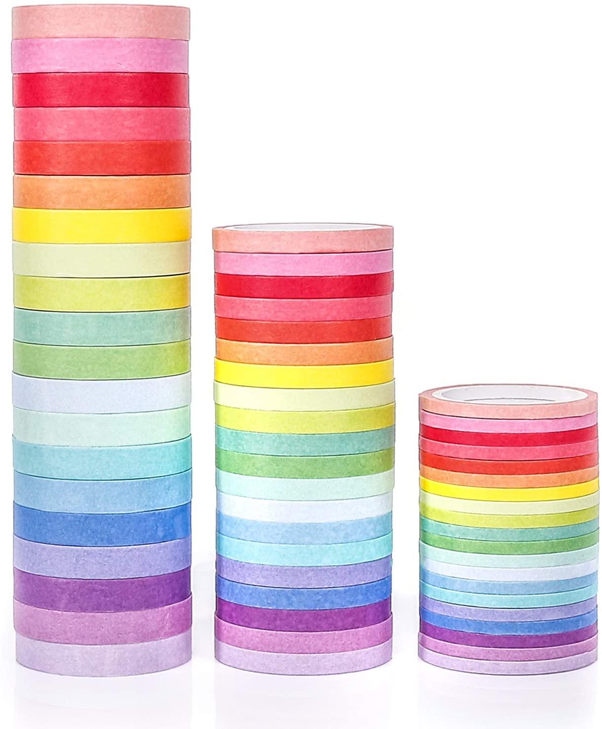 PuTwo Washi Tape, 60 Rolls Pastel Washi Tape, 3mm/5mm/8mm Thin Washi Tape Set, Decorative Tape, Cute Washi Tape, Washi Tapes, Japanese Washi Tape, Washi Tape for Journal, Decorative Tape for Crafts