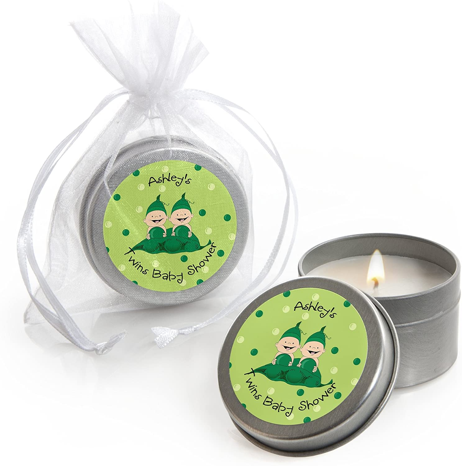 Big Dot of Happiness Custom Twins Two Peas in a Pod - Personalized Candle Tin Baby Shower Favors - Set of 12