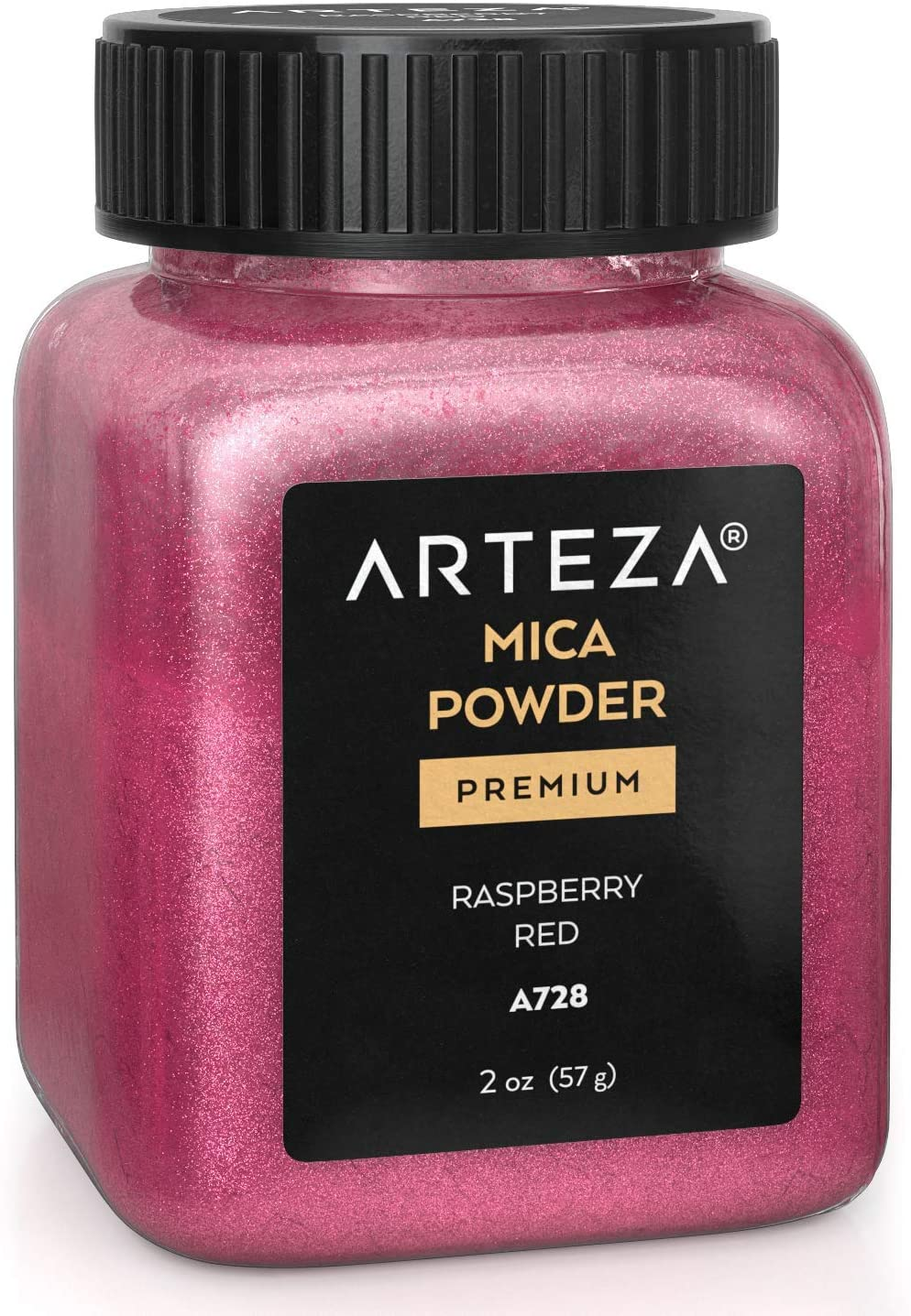 Arteza Mica Powder for Epoxy Resin, Raspberry Red A728, 2 oz Bottle, for Soap Making, Nail Polish, Bath Bombs, Candle & Slime Making