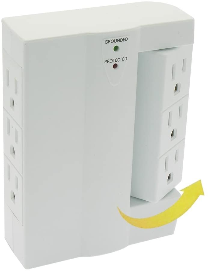 MyCableMart 6 Outlet Swivel Wall Tap Adapter with 300J Surge Protector