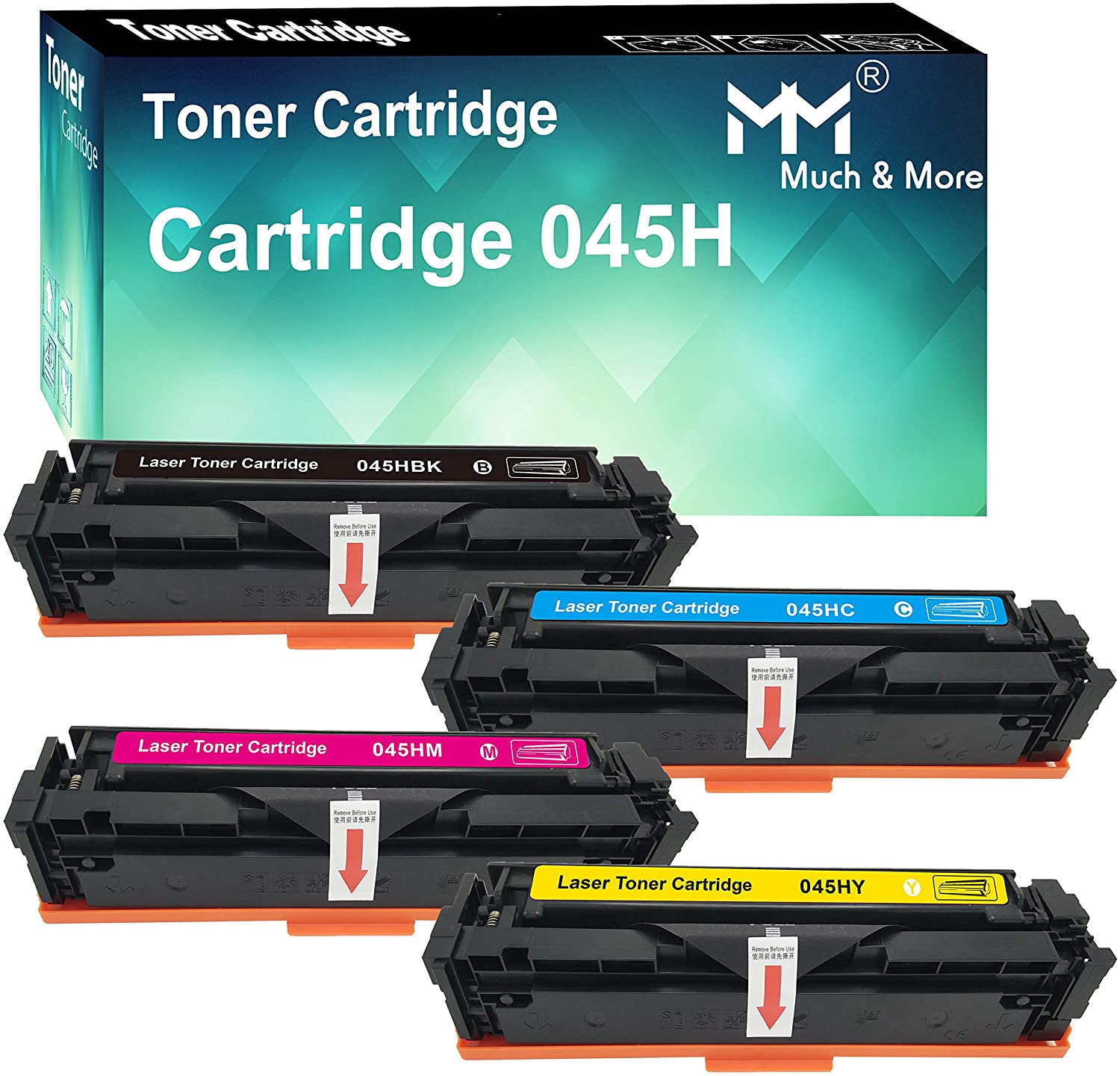 Compatible 4-Pack (BK+C+M+Y, High Yield) Cartridge 045 CRG-045H Toner Cartridge 045H Used for Canon MF634CDW MF632CDW LBP612CDW MF632CDW MF633CDW Printer, by MuchMore