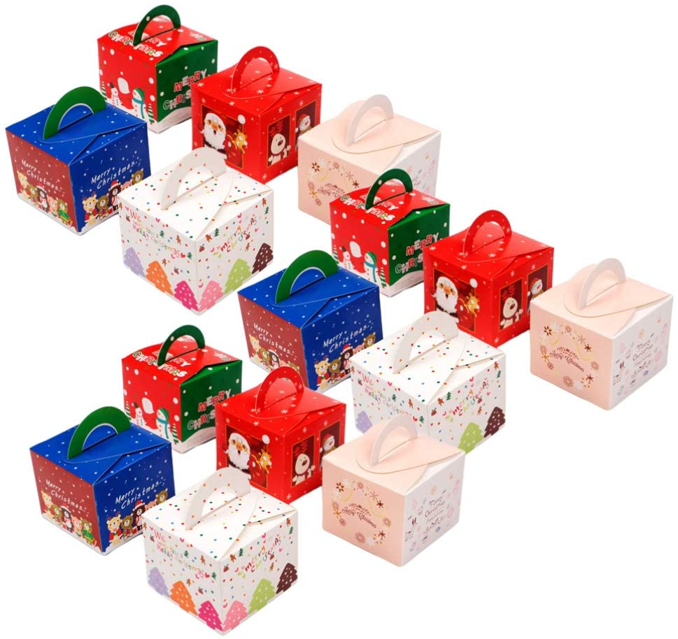 Toyvian 15pcs Christmas Treat Boxes Goody Gift Party Favor Boxes for Candy Cookie Cake Christmas Holiday Party Supplies