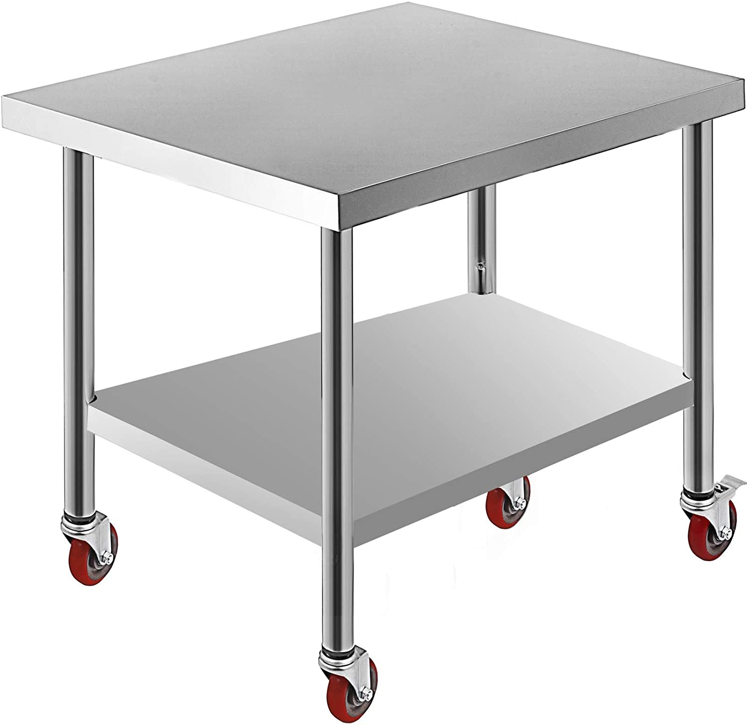 Mophorn 30x36 Inch Stainless Steel Work Table 3 Stage Adjustable Shelf with 4 Red Wheels Heavy Duty Commercial Food Prep Worktable with Brake
